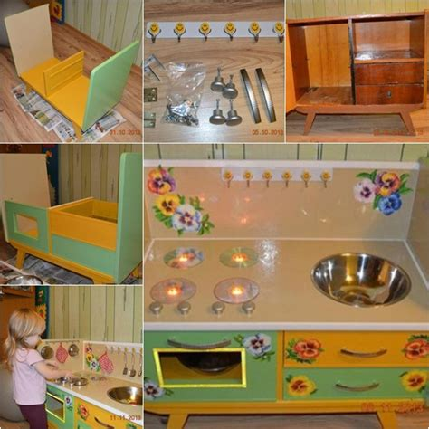 diy play kitchen for kid from old nightstand furniture the perfect diy kids play kitchen from old nightstand