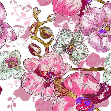 orchid pattern vector seamless pink orchid pattern stock vector image 40008395