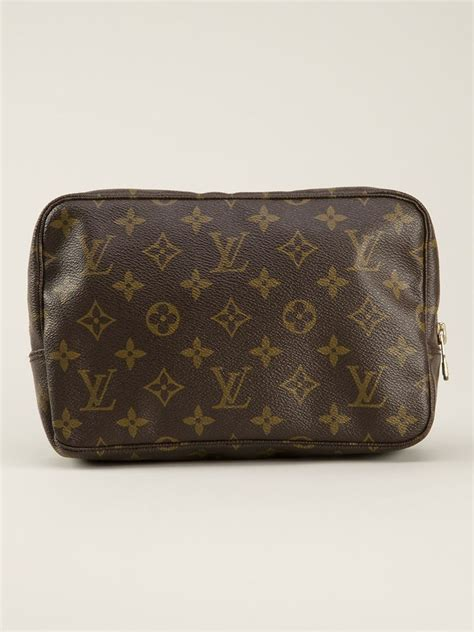 louis vuitton monogram trousse  cosmetic bag  brown lyst
