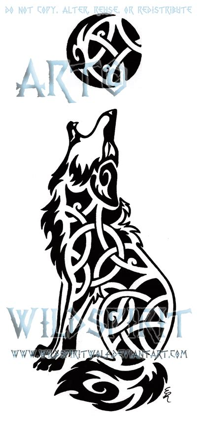 tribal coyote tattoos celtic wolf howling
