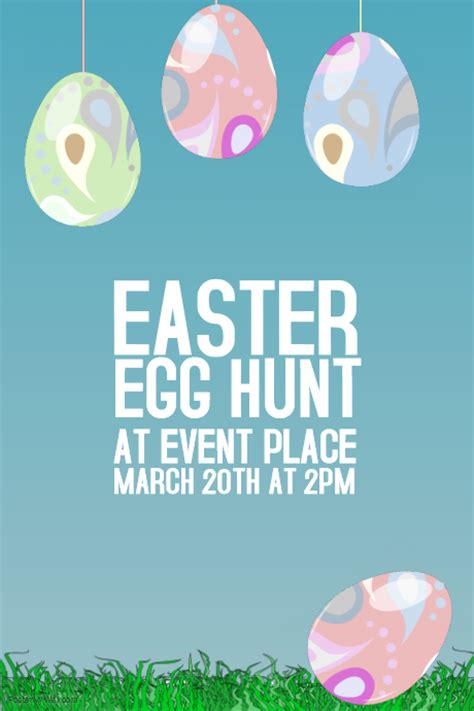 easter egg hunt poster template postermywall