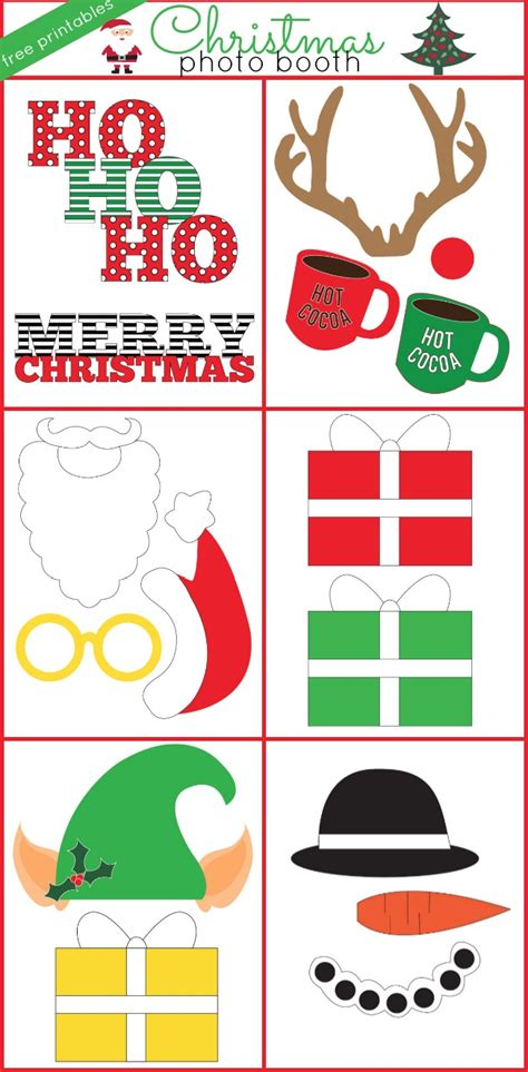 printable christmas party photo booth props winter holiday free photo booth props