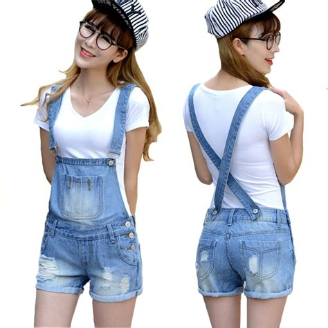 Playsuit Jumpsuit Wanita Baju Kodok distressed washed denim jumpsuit romper for