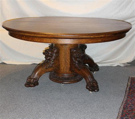 antique round table with claw fancy round oak dining table with carved lion headed and