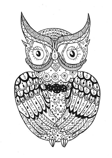 Simple owl rachel - Owls Adult Coloring Pages