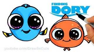 How to draw baby dory and nemo easy step by step cute finding dory