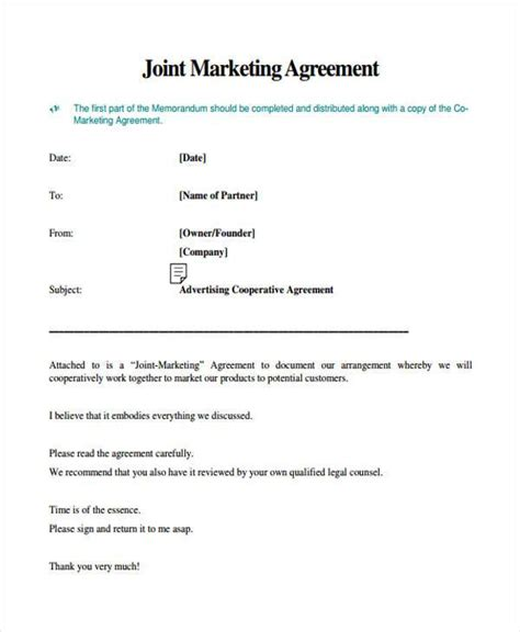 joint marketing agreement template 7 marketing agreement form sles free sle exle
