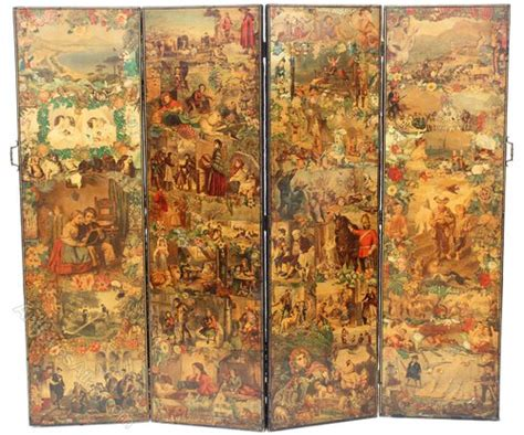folding 4 panel decoupage screen divider