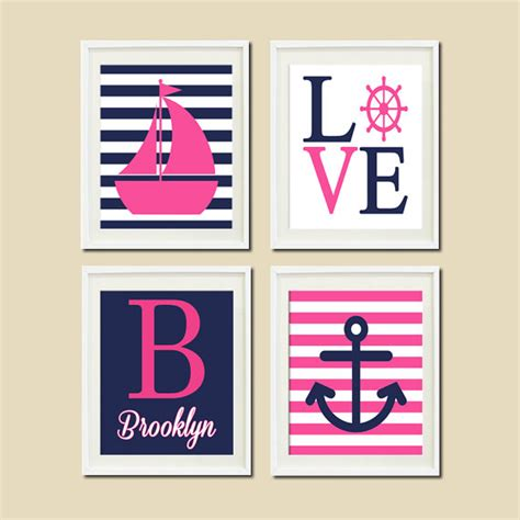 Pink And Navy Nursery Decor Pink Navy Nautical Nursery Wall Sailboat By Lovelyfacedesigns