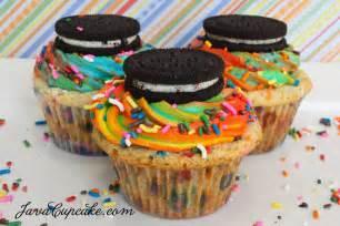 rainbow funfetti birthday cake oreo cupcakes javacupcake