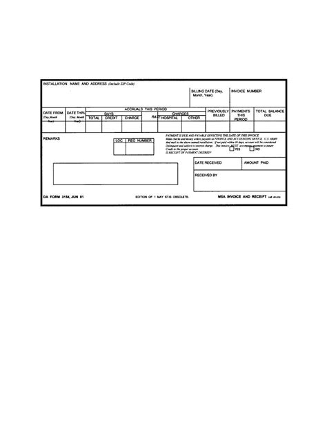 Patient Payment Receipt Template by Figure 4 2 Da Form 3154 Msa Invoice And Receipt