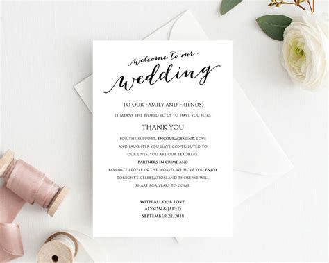 Welcome To Our Wedding Card 183 Wedding Templates And Printables Welcome To Our Wedding Template Free