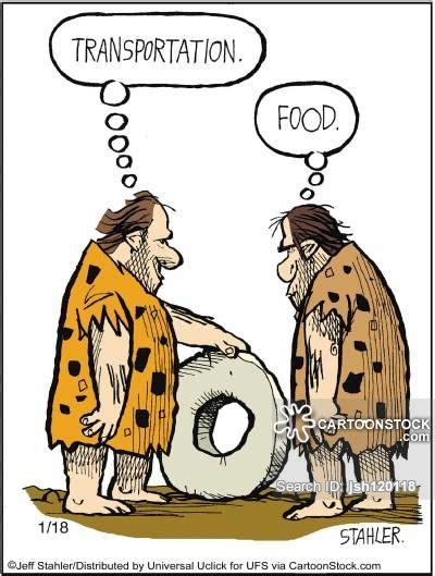 Funny Cartoons Caveman Wheel | technological advance cartoons and comics funny pictures