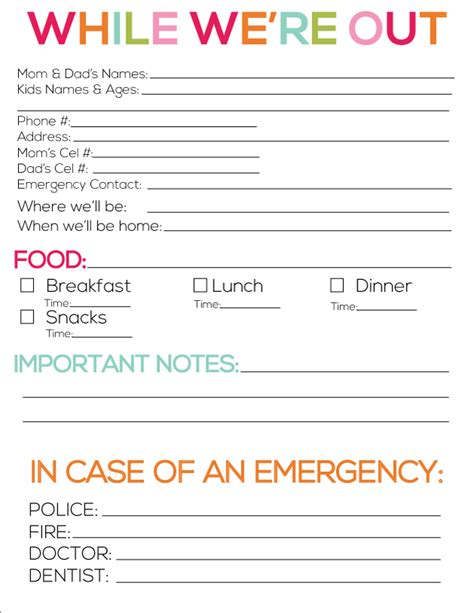 8 best images of printable babysitter forms for parents