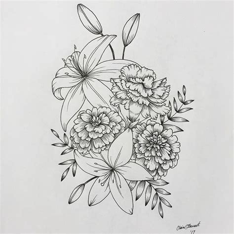 drawn carnation minimal pencil and in color drawn