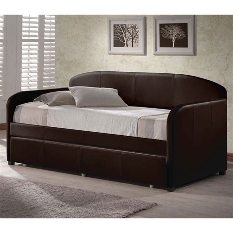 Leather Daybed With Trundle Springfield Leather Daybed In Brown Humble Abode
