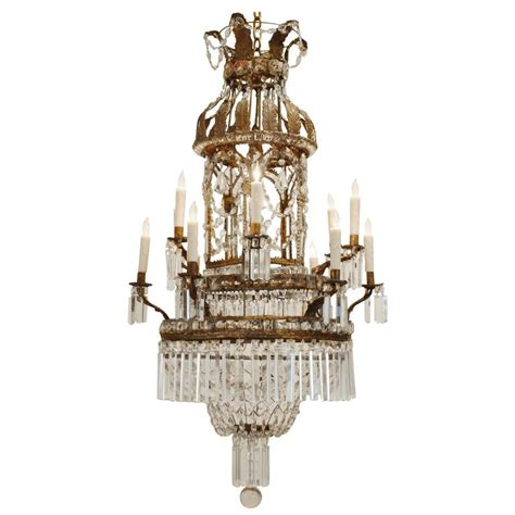 Neoclassical Chandeliers Italian Neoclassical Pressed Brass Iron And Glass Twelve Light Chandelier For Sale At 1stdibs