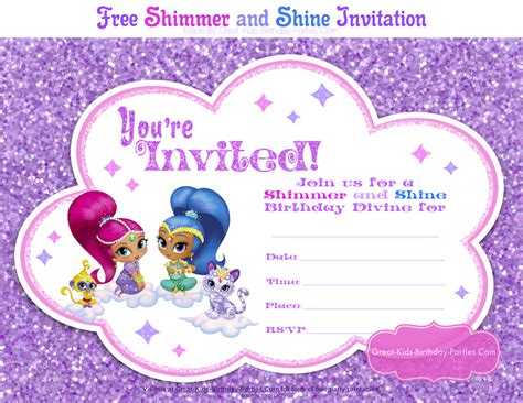 Shimmer And Shine Party Shimmer And Shine Invitations Templates