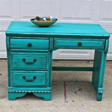 Green Desk L Antique by Patina Green Vintage Desk Turquoise Vanity By