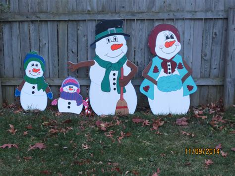christmas outdoor snowman family wood yard art by