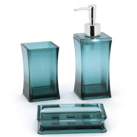 3pc Aqua Bathroom Accessory Set Soap Dish Dispenser Aqua Bathroom Accessories