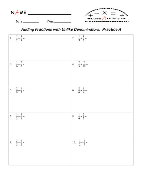 Adding Fractions With Unlike Denominators Worksheets Pdf by 12 Best Images Of Worksheets Adding Fractions With Unlike