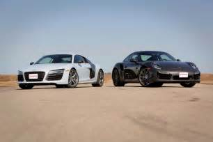 Porsche Vs Audi 2014 Audi R8 V10 Plus Vs 2014 Porsche 911 Turbo