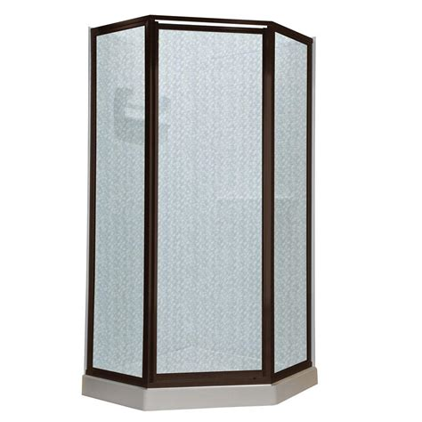 24 Glass Shower Door American Standard Prestige 24 25 In X 68 5 In Neo Angle Shower Door In Silver And Hammered