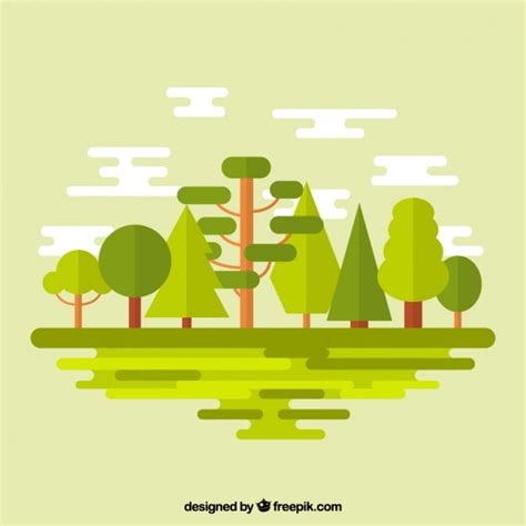 flat design free vector green forest in flat design vector free download