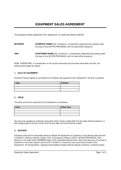 Sle Agreement Letter For Lending Equipment Equipment Sales Agreement Template