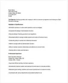 Banking Operations Manager Sle Resume by Banking Resume Sles 45 Free Word Pdf Documents Free Premium Templates