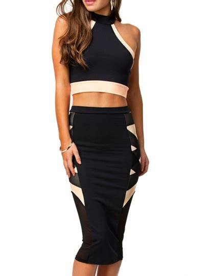 black halter sleeveless crop top tight bandage