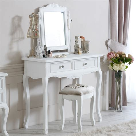 White Vanity Table With Mirror And Bench Elise White Range Dressing Table Mirror And Stool Melody Maison 174