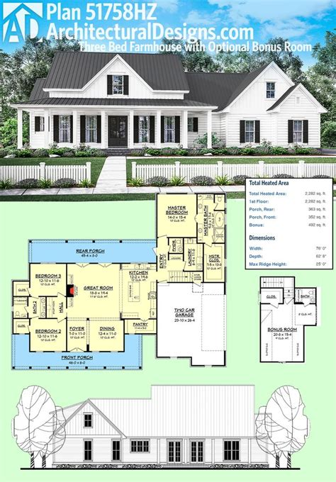 Best 25 House Plans Ideas On Pinterest 4 Bedroom House Small House Plans With Bonus Room Garage