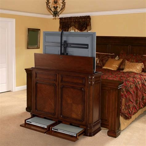 bedroom tv cabinet hidden tv lift cabinets in homes traditional bedroom miami
