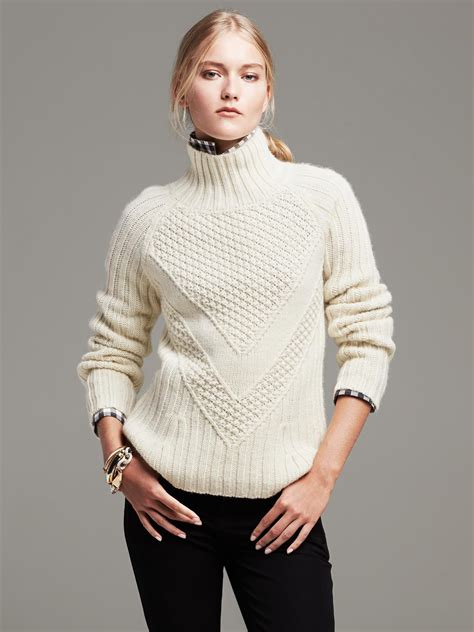 Hits Popcorn Sweater Navy banana republic popcorn stitch turtleneck pullover in beige navy lyst