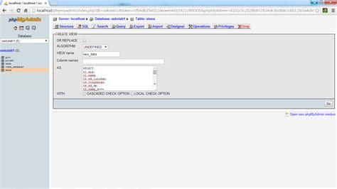 membuat view pada database mysql membuat table view pada mysql atau phpmyadmin