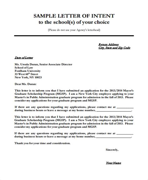 application letter for a college course sle letter of intent for 7 documents in