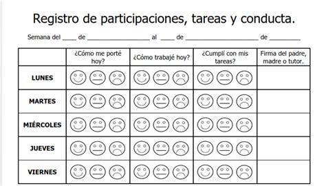 formato de registro de conducta y disciplina en el aula tu escuelita registro de participaciones tareas y conducta portal de