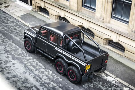 kahn land rover defender double cab the flying huntsman 110 6x6 defender pickup is a beast