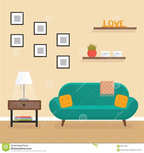 Interior Design Living Room Small Flat by Living Room Interior Flat Style Vector Illustration
