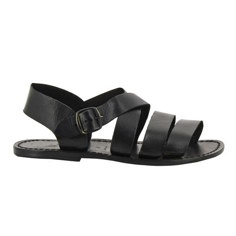 Mens Handmade Sandals - handmade in italy mens sandals in black leather gianluca