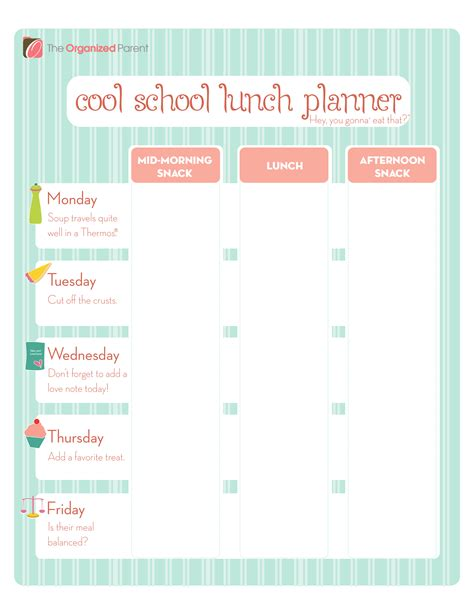 lunch box planner template school lunch ideas the bright ideas blog