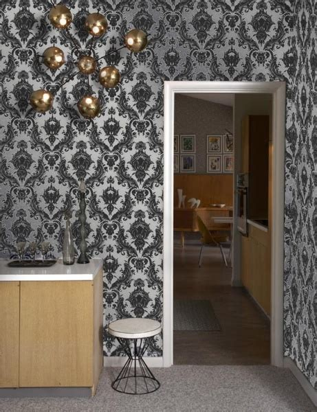 tempaper removable wallpaper tempaper damsel metallic silver wallpaper by couture deco