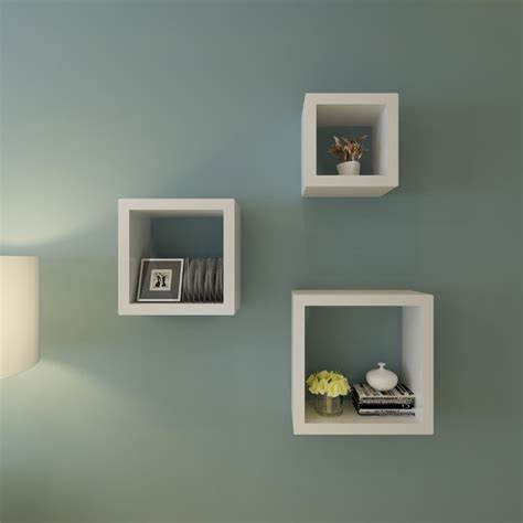 new set of 3 white square floating cube wall storage