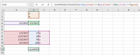 product design criteria exle worksheet function excel sumproduct sumifs criteria not