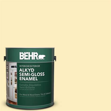 behr 1 gal p290 1 soft buttercup semi gloss enamel alkyd interior exterior paint 390001 the