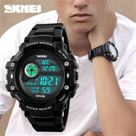 Jam Tangan Digital 5 skmei jam tangan digital pria 1280 black jakartanotebook