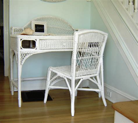 white wicker desk vintage white wicker desk chair or vanity