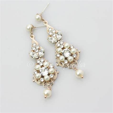 Vintage Bridal Chandelier Earrings Gold Bridal Earrings Chandelier Earrings Vintage Wedding Earrings Pearl Wedding